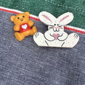Vintage Avon Teddy and Hand Painted Bunny Pins